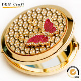 Зеркало изготовленный на заказ роскошного металла косметическое карманное с диамантом
