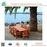Swimmingpool-hölzerner im Freien Speisetisch und Stuhl
