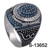Turchese blu uomini dell'anello di pietra naturale d'argento dell'anello dei 925 piccolo