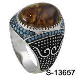 925 silberner Mann-Ring-natürlicher Steinring-kleiner blauer Türkis
