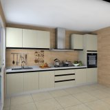 De moderne Lineaire Keukenkasten van het Triplex van de Kleur van het Metaal van het Type