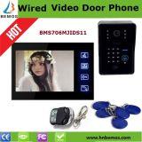 6 Draht-videotür-Telefon-videoTürklingel mit Identifikation-Karte und Fernschlüssel