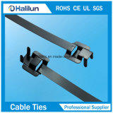 Type libérable verrouillant les serres-câble enduits d'acier inoxydable de PVC