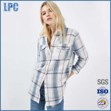 Славная сплетенная рубашка 100% женщин фланели проверки втулки хлопка длинняя