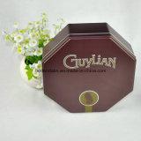 Materiales metálicos de chocolate Embalaje caja de la lata con forma octogonal
