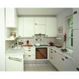 Gabinetes de cozinha modulares de madeira da melamina em forma de u moderna da laca