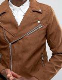 タンのPull&Bearののどのスエードのバイカーのジャケット