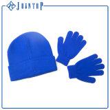Fester blauer Großhandelswinter-Hut und Handschuh-Erwachsener