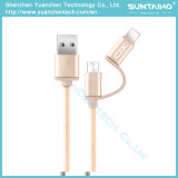Trenzado Nylon 2 en 1 cable de datos USB de carga rápida para Android iPhone