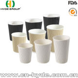 Fabricado en China 10oz rizado desechables vasos de papel de pared