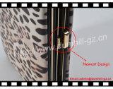 Caixa nova do telefone móvel do leopardo do frame do metal da forma com os suportes de cartão do crédito