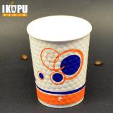 Taza de papel para beber en frío con tapas de plástico