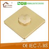 Reino Unido estándar de color dorado moderno diseño atenuador de luz interruptor