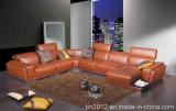 現代家具の上の革ソファー(H2996)