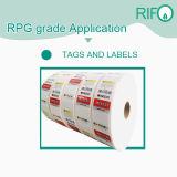 Papel sintetizado de las etiquetas engomadas piezosensibles para MSDS imprimible rotatorio ULTRAVIOLETA