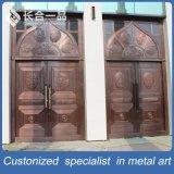 ステンレス鋼のモスクのための赤い青銅色の機密保護の入口の金属のドア