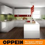 Laca do lustro e luz elevadas brancas modernas - gabinete de cozinha cinzento da melamina (OP16-L08)