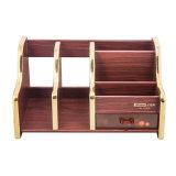 Organizador de madera del escritorio de la capacidad grande con el estante del fichero y cajón