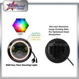 Halo do ângulo faróis do diodo emissor de luz de um RGB de 7 polegadas para o jipe