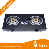 Two Burner Brass Cap Glass Top Super Ss Fogões a gás de chamas Jp-Gcg207s