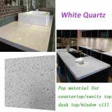 Modèle blanc en cristal de partie supérieure du comptoir de pierre de quartz