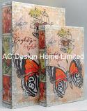 S/2 hermosa mariposa Diseño de cuero de PU/madera MDF Cuadro de la libreta de almacenamiento de impresión