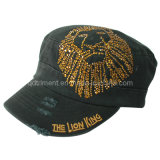 Grinding Washed Embroidery Colorful Rhinestone Leisure Military Cap (TMM1994)