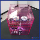 Organisator van de Make-up van de douane de Roze Acryl Kosmetische met de Knoppen van de Diamant