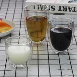 두 배 벽 대나무 뚜껑 및 유리 뚜껑을%s 가진 유리제 커피 맥주 포도주 차 찻잔 컵