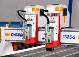 3D router dobro do CNC da madeira das cabeças 4*8FT, máquina de estaca da madeira do CNC 1325 para o alumínio, PVC, acrílico