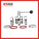 Válvulas de borboleta China Tri Clamp com alça de fibra de aço inoxidável