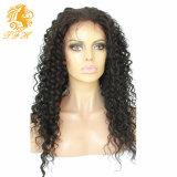 Del frente del cordón del cabello humano 8A sin cola de encaje completa pelucas del Perú Virgen del pelo profundamente rizado pelucas de pelo humano para las mujeres negras con el pelo del bebé
