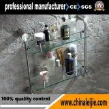 Mensola di vetro elegante di doppio strato dell'acciaio inossidabile (LJ55014)