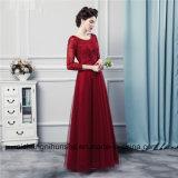 Lange Hülsen-Brautjunfer kleidet Qualitäts-Tulle-lange Brautjunfer-Kleider