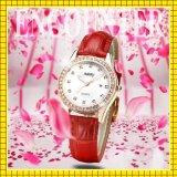 Capa de aço inoxidável do movimento de quartzo original Relógio de diamante de couro impermeável