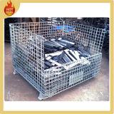 Plegable jaula de alambre de metal de malla de almacenamiento de contenedores con ruedas