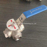 1000wog T Port 3 Way Ball Valve con Locking Handle