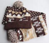 Крышка зимы теплая связанная, шарф, комплект (KS-2119)