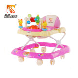 Ходок младенца розового цвета вращая с колесами качества