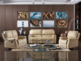Conjuntos de sofás reclináveis com cor bege de couro