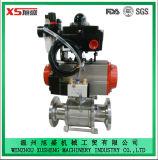 De Sanitaire Pneumatische 3PCS Kogelklep van het roestvrij staal met Actuator