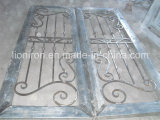 Portas da rua duráveis do ferro feito com vidro chanfrado