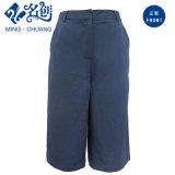 Suelta de color azul de ocio de la moda señoras recortado unos Pantalones Ropa de mujer