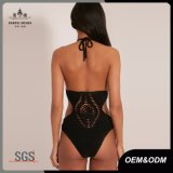 Women Festival Chic Black Crochet Bodysuit
