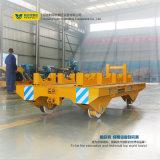 De Vrachtwagen die van het Platform van het staal op Sporen voor Rollen lopen
