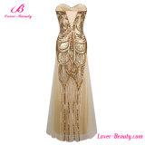 Vestido longo do baile de finalistas da noite vestido Shining Sequined Strapless de Gatsby do ouro do grande