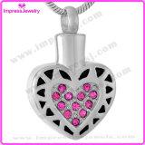De Vorm van het hart met het Roze Roestvrij staal van de Tegenhangers van de Urn van de Herinneringen van de Crematie van Kristallen