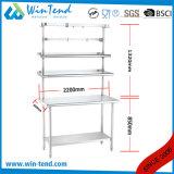 Banco de trabajo robusto reforzado estante redondo de la cocina de la construcción del tubo del acero inoxidable con el estante adicional y la pierna ajustable de Heigh
