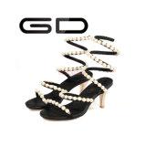 편리한 Bling 모조 다이아몬드 검정 다른 작풍은 설탕장식 여자를 위한 얇은 발뒤꿈치 샌들을 뒤축을 댄다