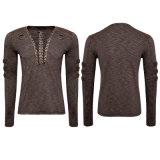 Café Steampunk Bandage V Neck manches longues Hommes Chemises avec bretelles (T-462)